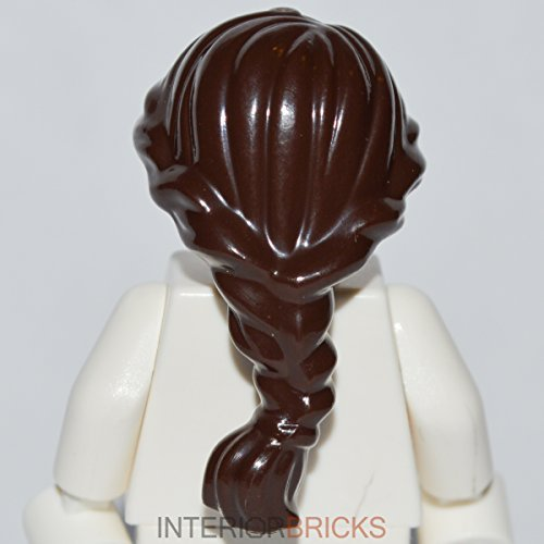 LEGO City Minifigure Hair, Dark Brown Female Ponytail Long French Braided, Quantity 1 - 1