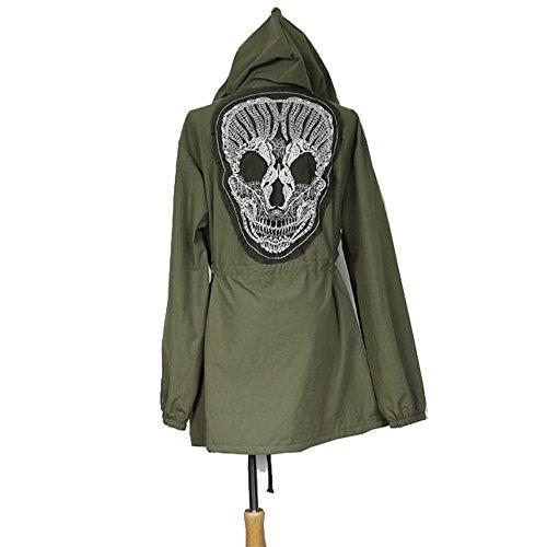 Korean Womens Loose Skull Hooded Coat Rain Trench Outerwear Jacket Army Green