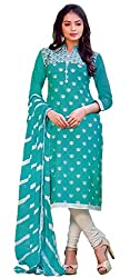 Aradhya Women's SkyBlue Satin Cotton Dress Material