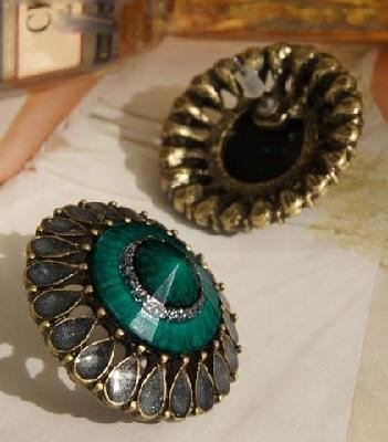 New Vintage Style Fashion Green Big Size Kupfer Bronze Green Ohrstecker Geschenk