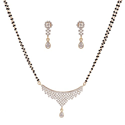 Sempre-of-London-Thread-CZ-Crystal-Diamonds-with-Gold-Rhodium-Plated-Mangalsutra-with-Earrings-For-Women