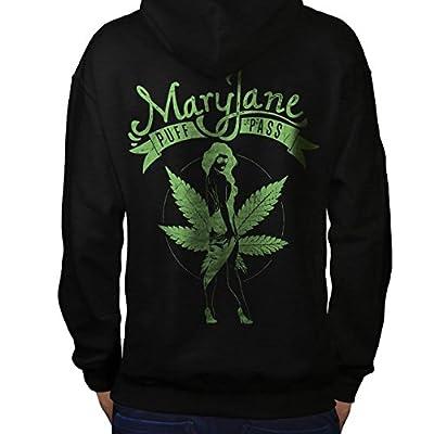 Weed Puff Pass Dope Mary Jane Men NEW Black Hoodie Back S-5XL   Wellcoda