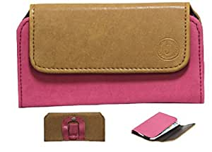 Jo Jo A4 Nillofer Belt Case Mobile Leather Carry Pouch Holder Cover Clip For Coolpad Dazen1  Tan Pink