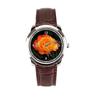 sanYout Mens Leather Watch Plant Watch Wrist Flower Leather Strap Watches Yellow