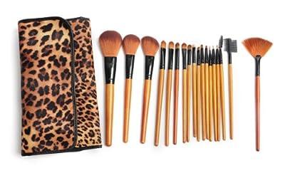 Kltech 2014 Latest 18 Pcs Professional Makeup Brush Set With Leopard Print Luxurious Bag by KLTECH