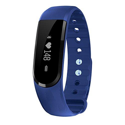 TINCINT Bluetooth4.0 スマートブレスレット 活動量計 心拍数検測 睡眠検測 健康守る 多機能スマートウォッチ (心拍数測定/歩数/距離/消費カロリー/遠隔カメラ/ 音楽プレー/着信通知) IPX7強力防水 Iphone/Android/ IOS対応 (ブルー)
