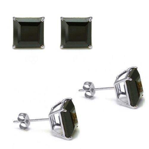 Authentic 925 Sterling Silver 3.00 Carat Princess Cut BLACK CZ Diamond Cubic Zirconia Studs. 1.50 Carat Each Stone