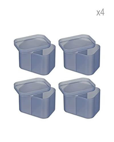 Wenko Set 4 Organizer Da Bagno Ice Cube M Grigio 15,6 X 12,4 X 11,3