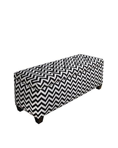 MJL Furniture Sole Secret Large Upholstered Shoe Storage Bench, Black/White