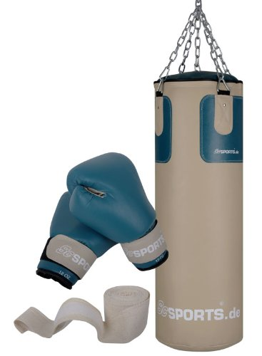 DG04 Box-Set für Erwachsene Boxsack Boxhandschuhe Boxbandagen 25 kg 80 cm gefüllt Kunstleder Stahlkette