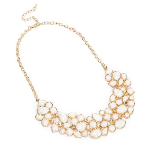 Fashion Golden Chain Style Jewelry Rhinestone White Resin Pendant Necklace