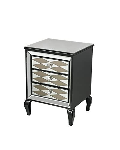 Artistic Lighting Diamond Chest, Clear/Smoked Mirror/Gloss Black