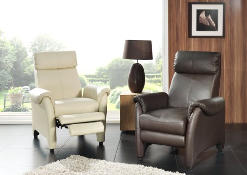 Fauteuil de relaxation cuir manuel JAVA-Beige
