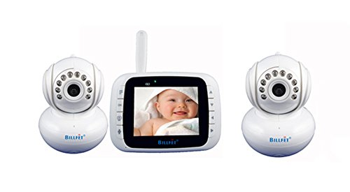 Billfet Wireless Digital Video Baby Monitor Pan Tilt PTZ Zoom With 3.5 Inch LCD Plus Night vision With 2 Cameras, White
