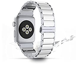 Apple Watch Band, HuanlongTM Iwatch Ceramic Patchwork Links Smart Watch Band Wristband Replacement w/ Metal Adapter Clasp for Apple Watch & Sport & Edition (42mm White)