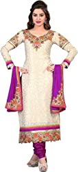 Cool women's Georgette Embroderied Unstitched Dress Material -1037_Beige_Freesize
