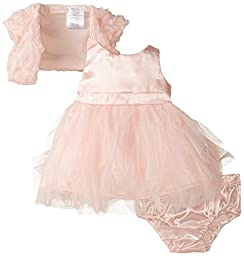 Nannette Baby Girls\' 3 Piece Chiffon Mesh Shrug Dress and Panty, Pink , 3-6 Months
