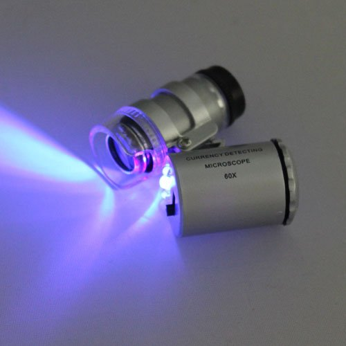 Mini 60X Led Uv Blue Light Pocket Microscope Multi-Functional Jeweler Currency Magnifier Adjustable Loupe Top New