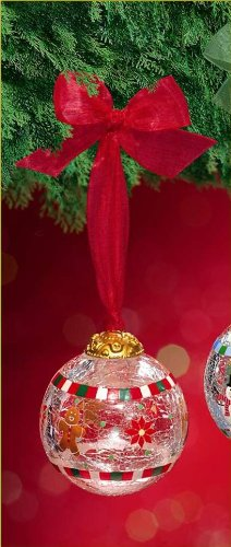 Glass Crackle Ornament, Christmas - Teddy Bear