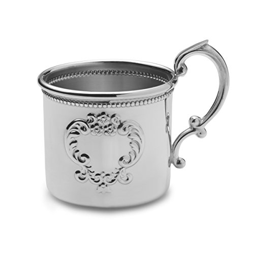 Empire Raised Design Beaded Pewter Baby Cup - 1