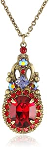 """Sorrelli Ruby Red Crystal Delicate Drop Antique Gold-Tone Pendant Necklace, 16"""""""