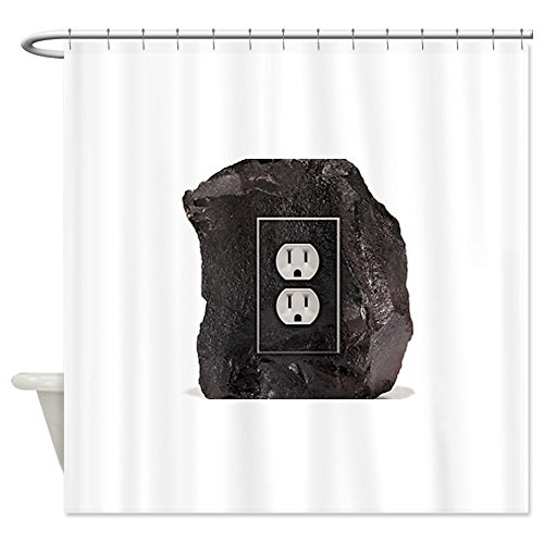 Cafepress Black Coal With Single Electric Out Shower Curtain - Standard White