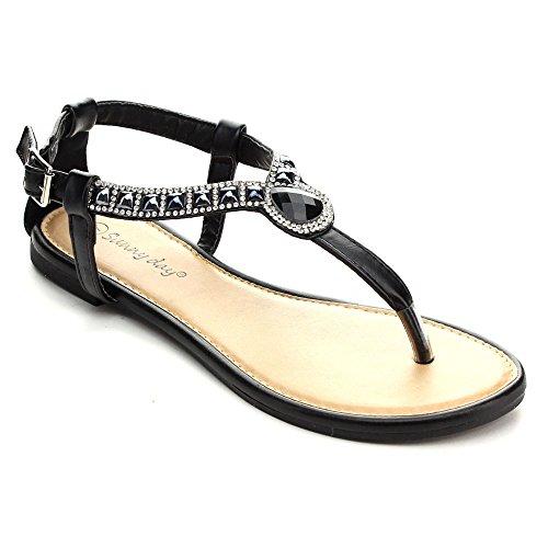 SUNNY DAY ZALIA-4 Women's T-strap Rhinestone Buckle Strap Flat Thong Sandals