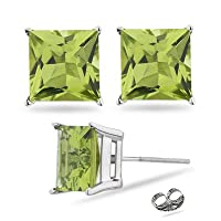 2.00 Carat Princess Peridot Cubic Zirconia Cz Stud Earrings. Sterling Silver 925 Tarnish Free & Nickel Free Top Quality Rhodium Finish by Made in U.S.A