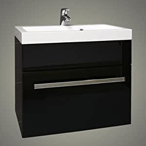 Black square basin wall hung bathroom furniture drawer for 600 kitchen drawer unit