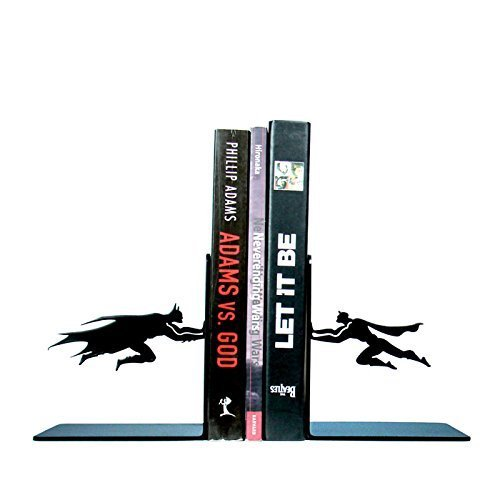 Batman VS Superman DC Bookends,1 Pair,5 Inches,Heavy Steel,Black