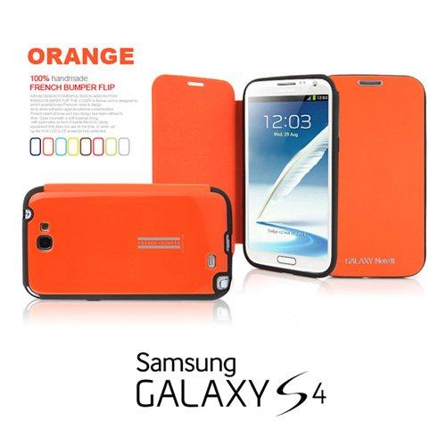 2点セット GALAXY S4 ARIUM FRENCH BUMPER ダイアリー デザイン フリップ カバー ケース カード 収納機能 ワンセグ対応 ワンセグアンテナ対応( docomo Galaxy S4 SC-04E / Samsung Galaxy S IV 2013年モデル 対応 ) ギャラクシー エスフォー ケース ドコモ カバー ジャケット Flip Cover Case + 液晶保護フィルム1枚 (プレゼント)  Stylish Orange ( 橙 橙色 オレンジ )  1306025