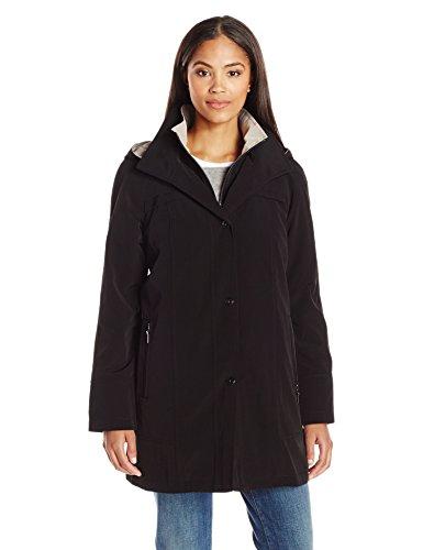 Fleet Street Ltd. Women's Rain Jacket with Button Out Faux Wool Liner, Black, M (Zip Liner Womans Rain Coat compare prices)