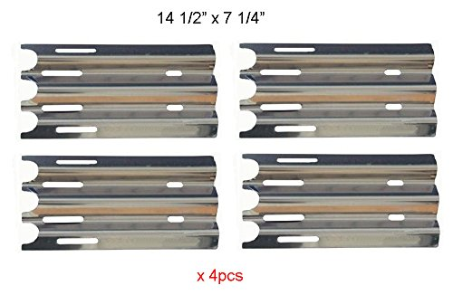 BBQ funland SH0081 (4-pack) Stainless Steel Heat Plate/Shield Replacement Parts for Select Vermont Castings and Jenn-Air Gas Grill Models (14 1/2