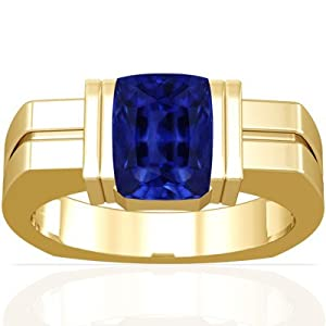 14K Yellow Gold Emerald Cut Blue Sapphire Mens Ring