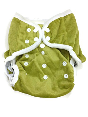 BB2 Baby One Size Solid Minky Minkee Snaps Cloth Diaper Cover for Prefolds (One Size, Green)
