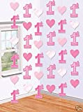 Amscan International First Birthday Girl Hanging String Decorations, Pack of 6