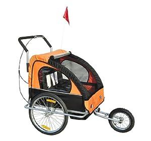 Remolque para Niños DOS PLAZAS con Amortiguadores Carro para Bicicleta CON BARRA INCLUIDA y Kit de Footing COLOR NARANJA Y NEGRO en BebeHogar.com