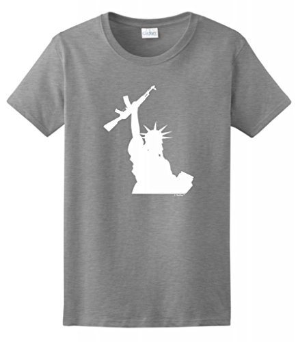 Statue Of Liberty Holding Assault Rifle Ladies T-Shirt Medium Sport Grey