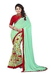Pramukh saris Womens Georgette Lace Work Sari (Green)