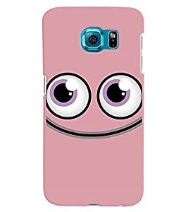 PrintVisa Cute Cartoon Pink Smiley 3D Hard Polycarbonate Designer Back Case Cover for Samsung Galaxy S6