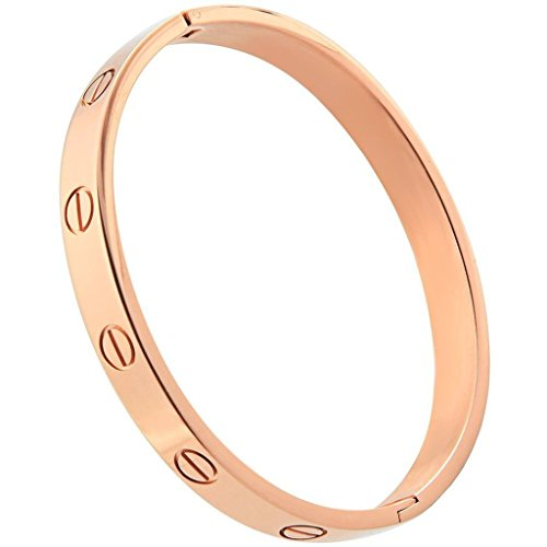 FHMZ(TM) Gold Plated Cuff Bracelet Hinged Bangle for Women Oval Fits 6.5 Inch Wrists