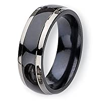 Chisel Two-tone Polished Titanium Ring (7.0 mm) With Wood Box - Size 10.0