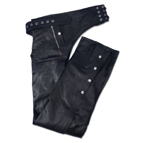 Hot Leathers Leather Chaps with Quilted Lining (Black, Small)