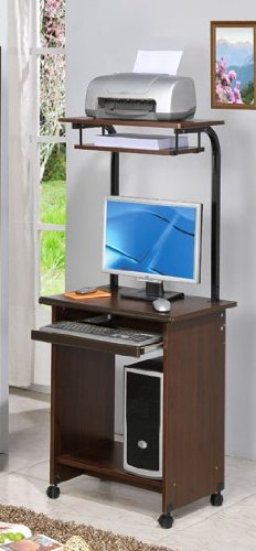 Buy Low Price Comfortable Home Office Computer Desk with Top Shelf in Dark Walnut Finish (B00412A116)