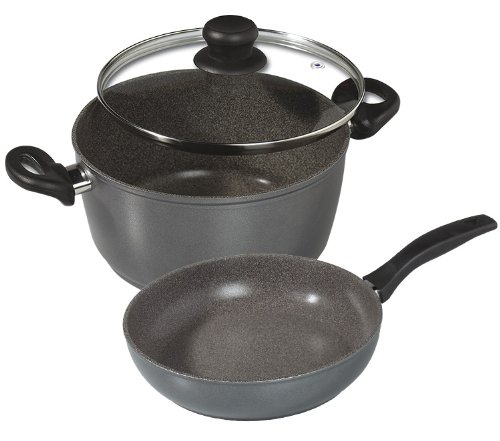 "Stoneline Nonstick Stone Cookware - 3 Piece Cook Set - Xxl 12.6"" Diameter Pan & Xxl 12.6"" Xxl Pot + Lid That Fits Both"