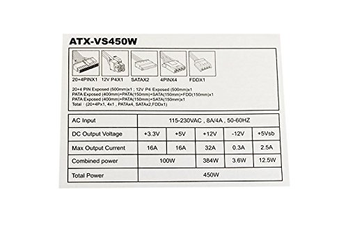 Apevia ATX-VS450W 450W Power Supply ...