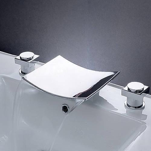 Wovier Chrome Waterfall Bathroom Sink Faucet,Two Handle Three Hole ...