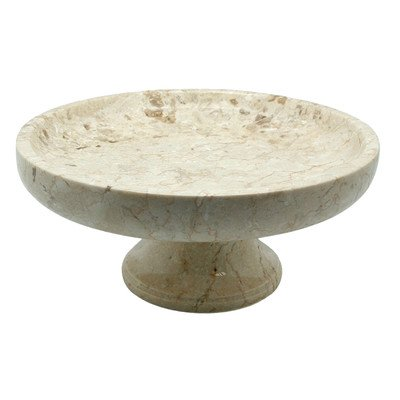 Creative Home Natural Champagne Marble Fruit Bowl on Pedestal, Party Display, 10