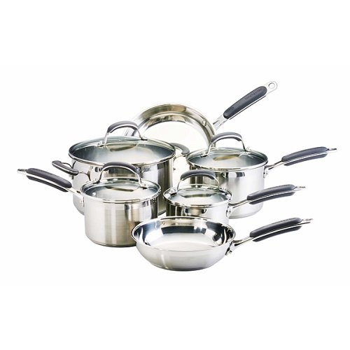 kitchenaid 10 pc stainless steel cookware set hang either