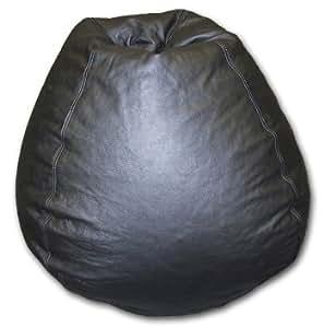 black genuine leather bean bag chair toys games. Black Bedroom Furniture Sets. Home Design Ideas